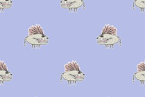 Monster Rats Hand Draw Illustration Pattern