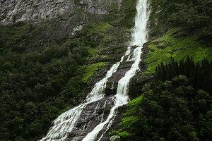 Waterfall in a Norwegian fjord