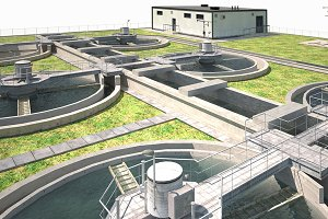 Water Treatment Plant Low Poly