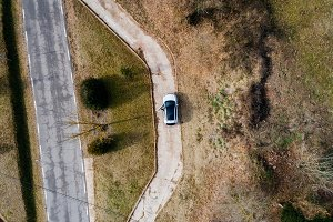 Aerial view of a parked car