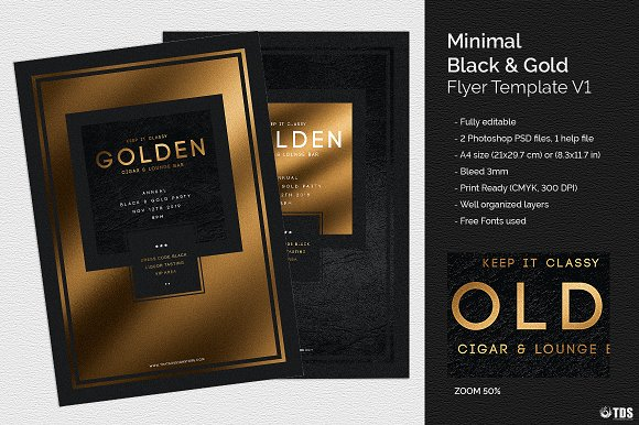 minimal black and gold flyer v1 flyer templates creative market