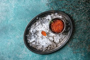 Bowl of red caviar