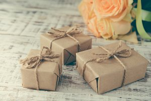 gift or present box and flowers