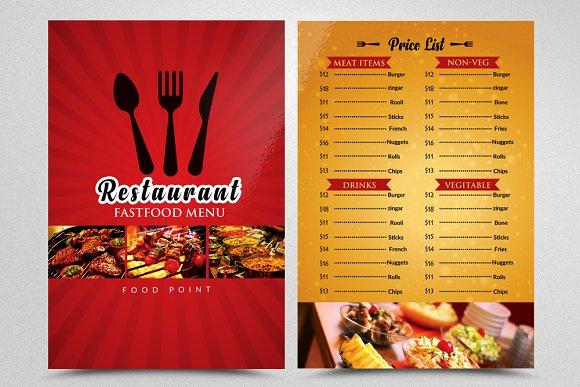 restaurant menu flyer template flyer templates creative market