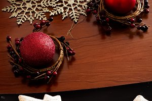 Red candle and Christmas Ornament