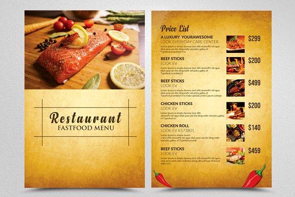 restaurant menu templates flyer templates creative market