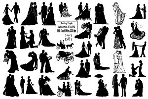 Wedding Couple Silhouette AI EPS PNG