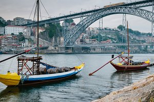 Boats floating in Douro river