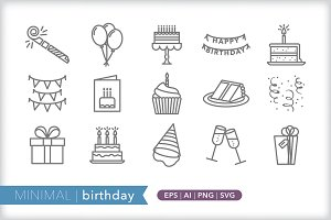 Minimal birthday icons
