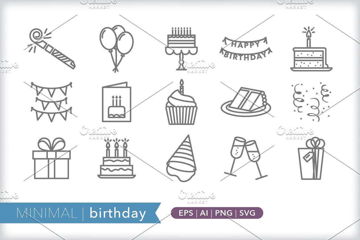 Minimal birthday icons