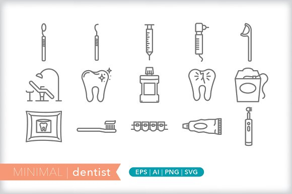 Minimal dentist icons