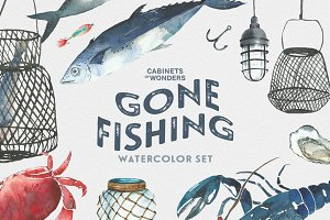 Gone Fishing Watercolor Clipart Set