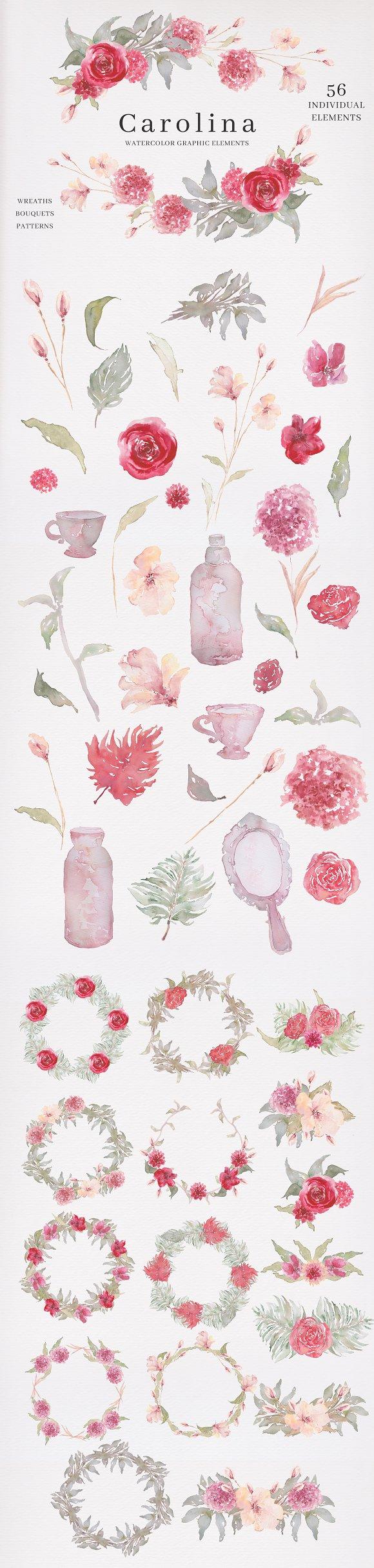 Watercolor Graphic Elements-Carolina