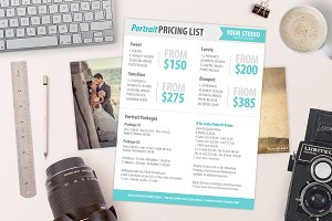 Photography Price List Sell Sheet