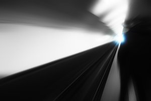 Diagonal metro track motion blur background