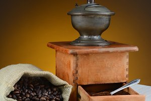 Coffee Bean Still Life with Grinder