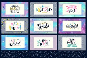 Set of vector greeting cards.