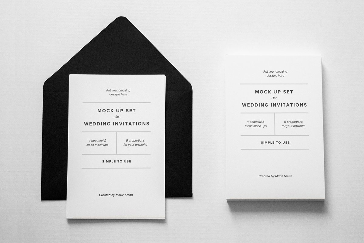 Invitations & Postcard Mockup Set in Print Mockups - product preview 1