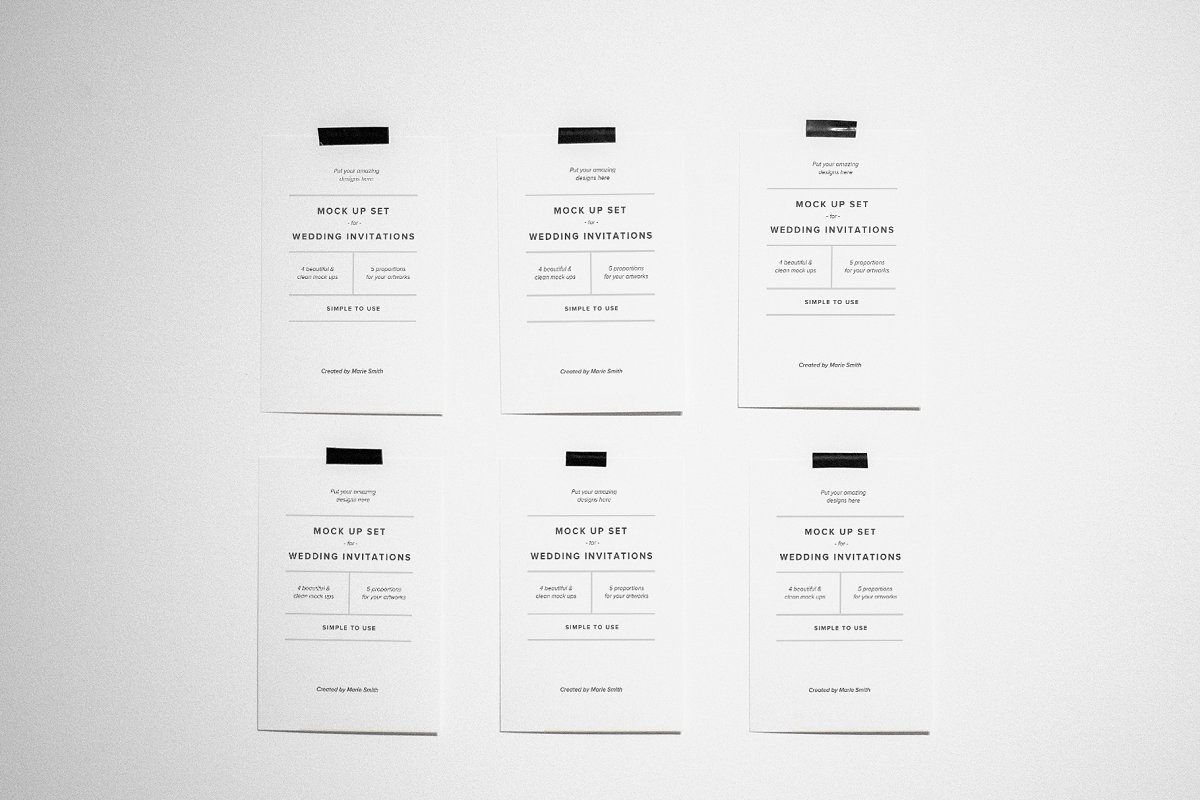 Invitations & Postcard Mockup Set in Print Mockups - product preview 2