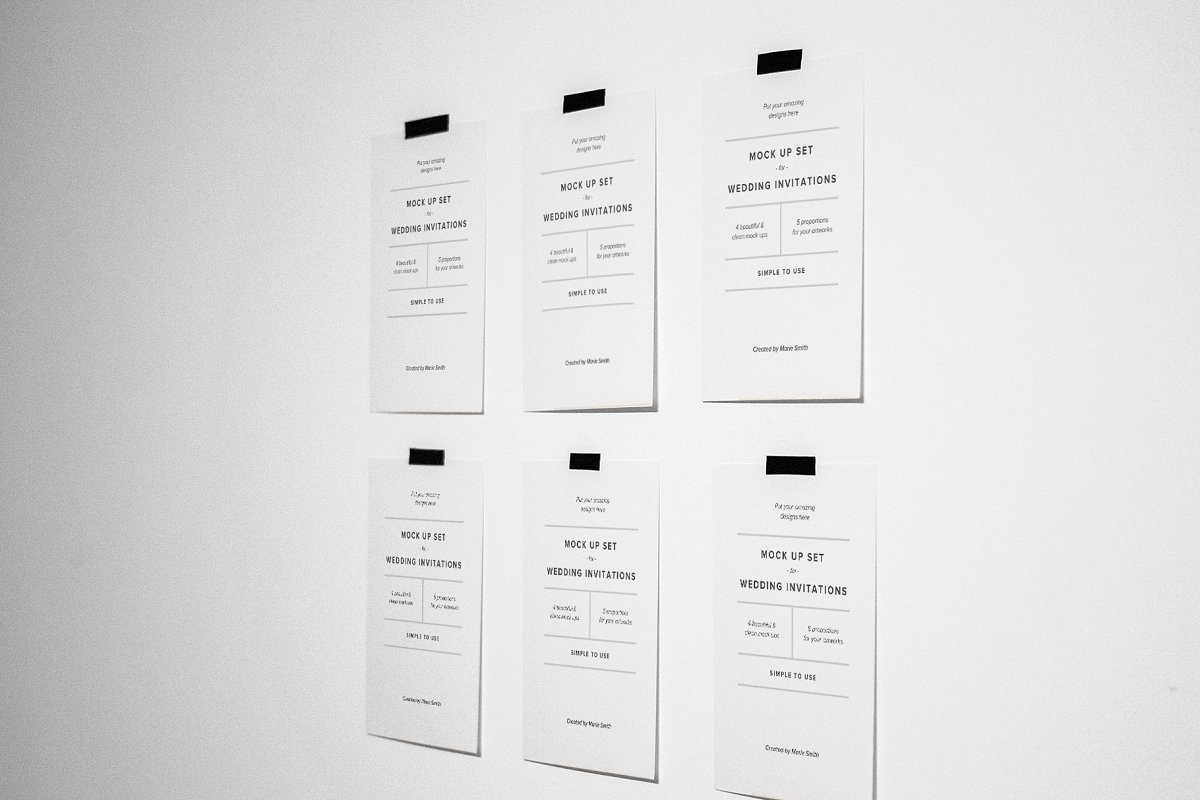 Invitations & Postcard Mockup Set in Print Mockups - product preview 3