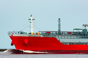 Red cargo tanker ship