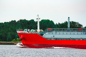 Red cargo tanker ship