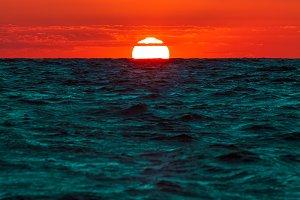 Romantic sunset over the sea