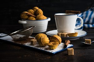 Dessert concept with tea and cookie