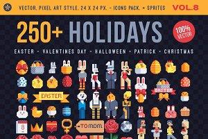 Holidays, 250+ pixel art icons.