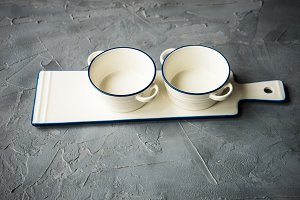 Empty ceramic rustic tableware
