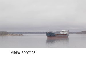 Cargo ship sailing on Volga river
