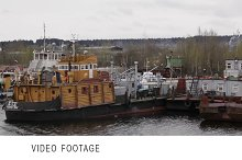 Old repair and freight ships berth