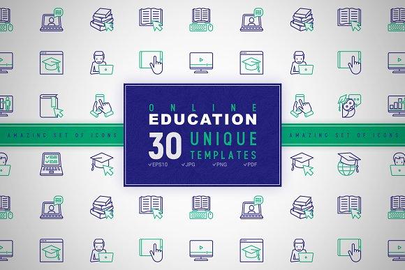 Online Education Icons Set | Concept