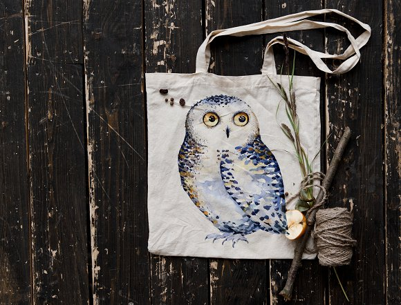 Watercolor cute owls in Illustrations - product preview 6