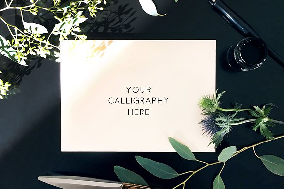 Blank Envelope Calligraphy Mockup