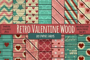 Retro Valentine Wood Backgrounds