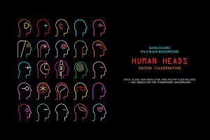 Human Head neon silhouettes