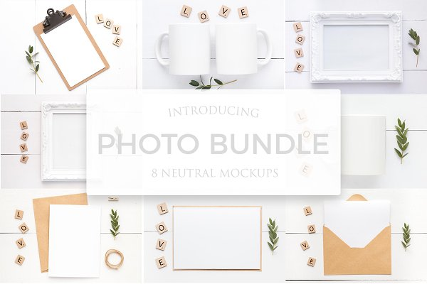 8 Mockups-Mugs, frames & card bundle
