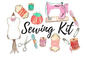 Watercolor fashion sewing clipart