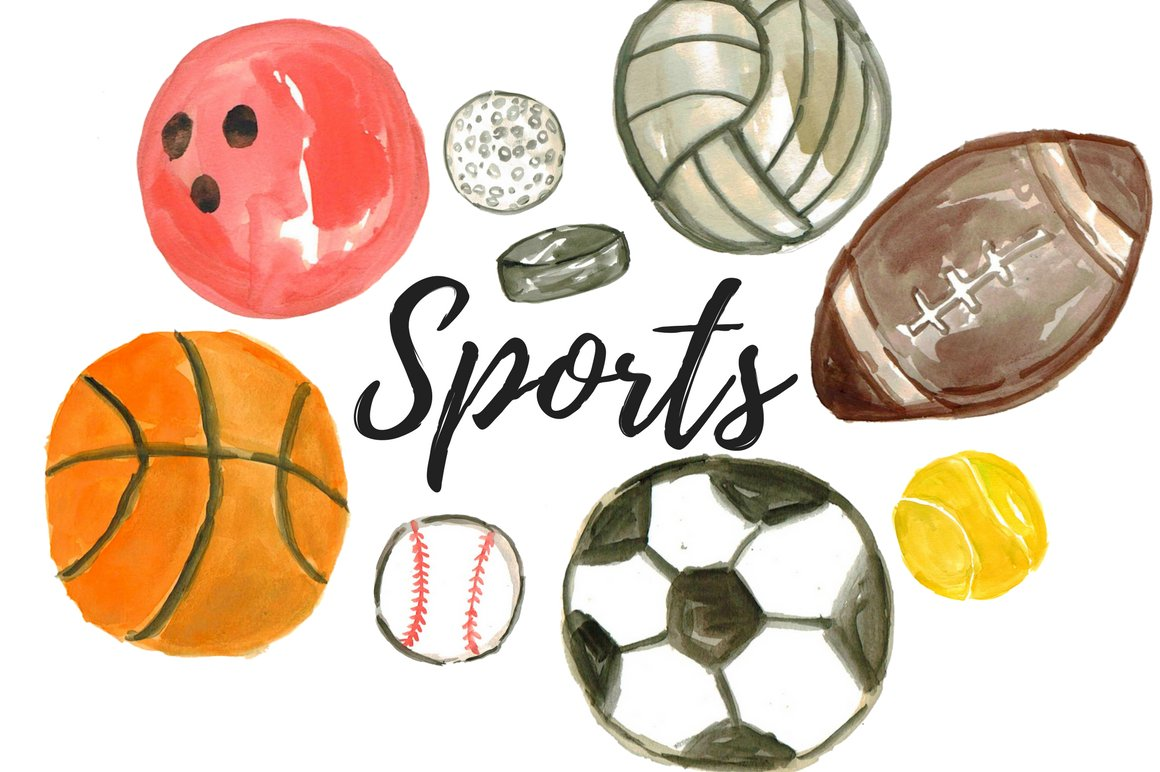 Watercolor Sport Balls Clipart Pre Designed Photoshop Graphics Creative Market