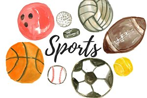 Watercolor Sport Balls Clipart