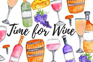 Watercolor Wine Clipart