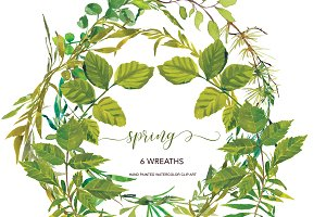Watercolor Spring Wreath Clipart