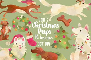 Christmas Dogs Clipart