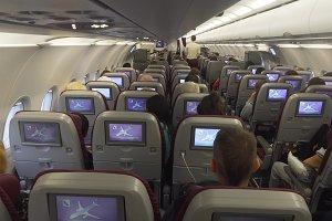 Interior of the passenger airplane.