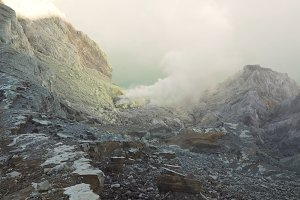 Kawah Ijen, Volcanic crater, where sulfur is mined.