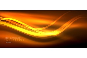 Neon orange elegant smooth wave lines digital abstract background