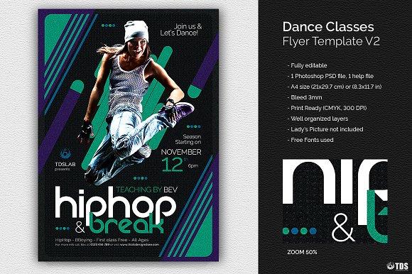 Dance Classes Flyer Template V2 Flyer Templates Creative Market