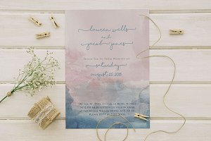 Boho Watercolor Wedding Invite Set