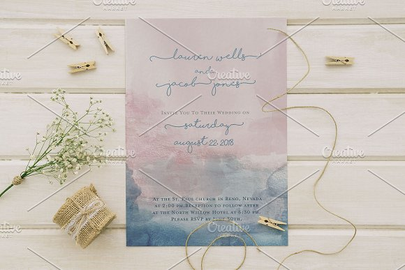 boho watercolor wedding invite set invitation templates creative